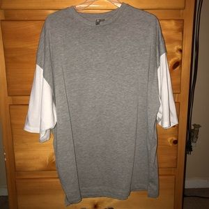 Super Oversized T-Shirt  With Raw Layered Sleeve